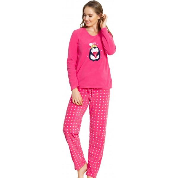 Pijama Polar Largo Manga Larga Mujer Happy Pingüino