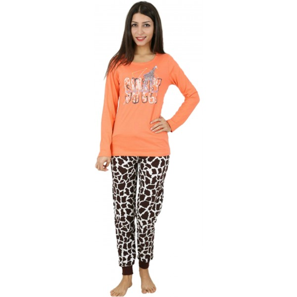 Pijama Largo Manga Larga Mujer Jirafa Puño