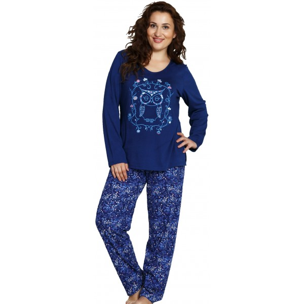 Pijama Talla Grande Largo Manga Larga Mujer Buho Flores
