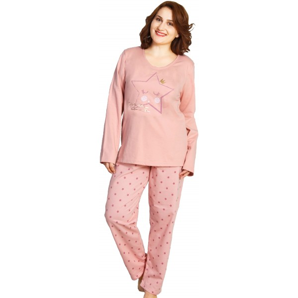 Pijama Talla Grande Perchado/Felpa Largo Manga Larga Mujer Estrella