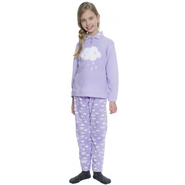 Pijama Polar Manga Larga Niña Lluvia