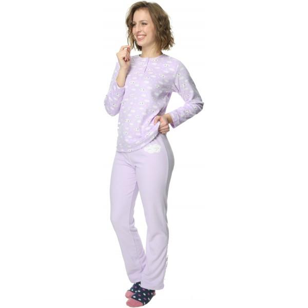 Pijama Polar/Coralina Largo Manga Larga Mujer Nubes Lila