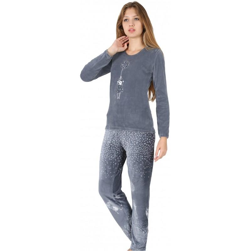 c4067a5bec Pijama Terciopelo Largo Manga Larga Mujer Oveja Globo Tundosado ...