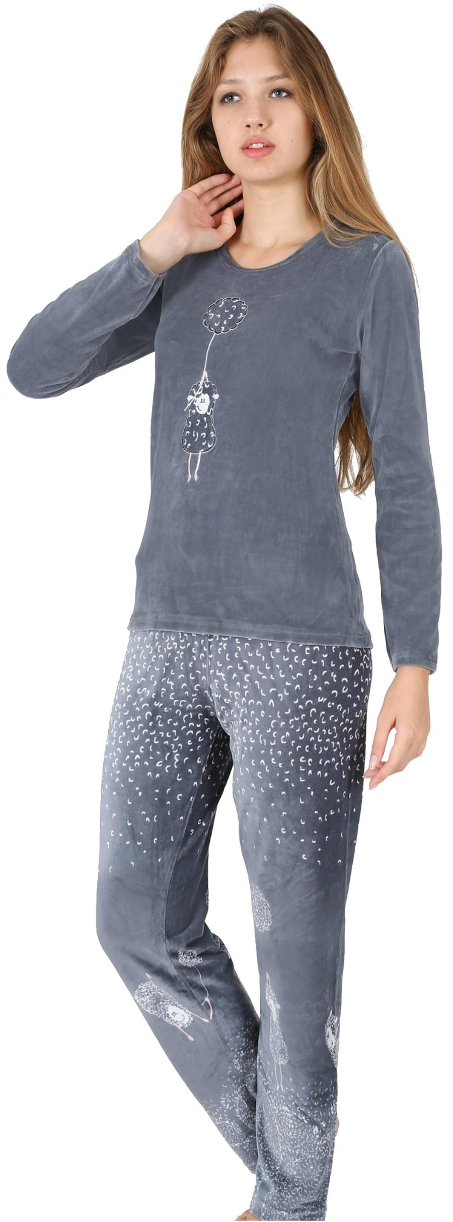 d955345dcd Pijama Terciopelo Largo Manga Larga Mujer Oveja Globo Tundosado - Moda y  Pijamas