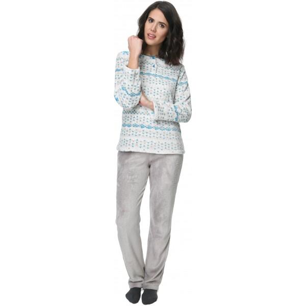 Pijama Polar/Coralina Largo Manga Larga Mujer Turquesa