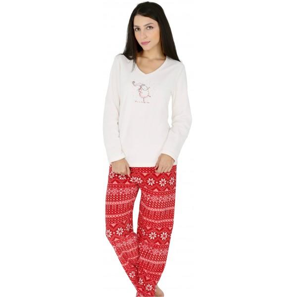 Pijama Polar Largo Manga Larga Mujer Oveja Gorro