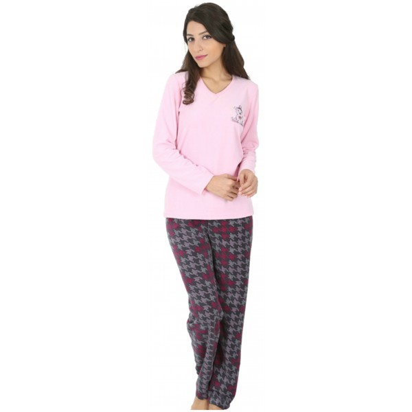 Pijama Polar Largo Manga Larga Mujer Osito