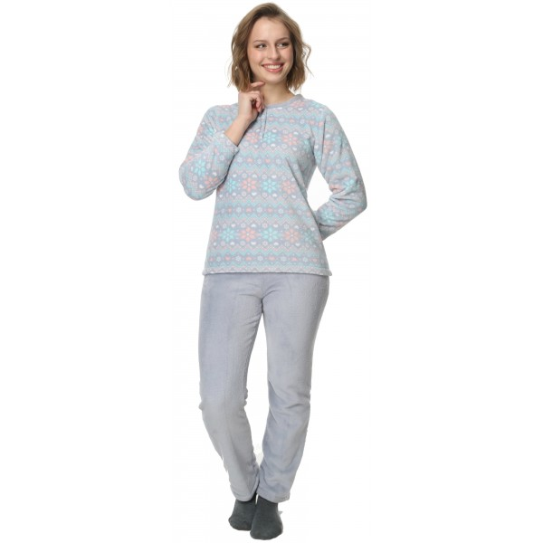 Pijama Polar Largo Manga Larga Mujer Invernal Boton