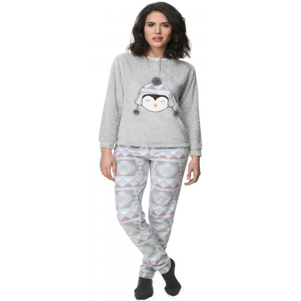 Pijama Polar Largo Manga Larga Mujer Pinguino Pompon