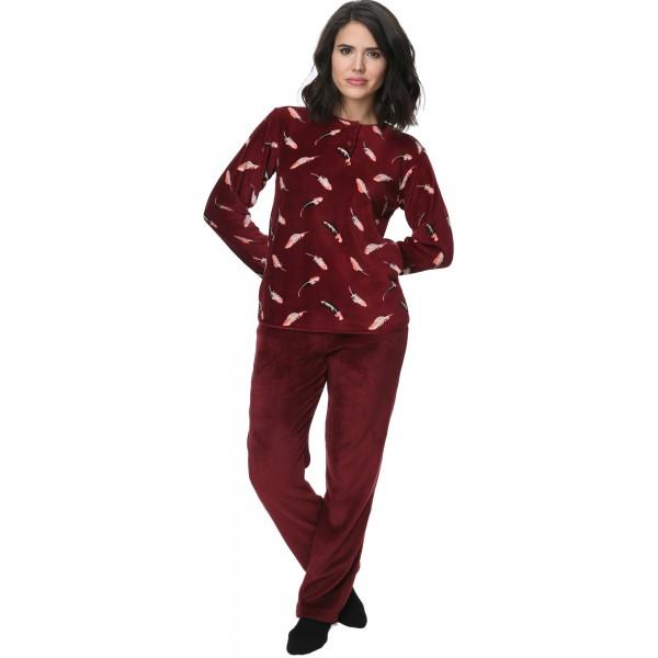 Pijama Polar/Coralina Largo Manga Larga MujerHojas Boton