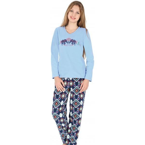 Pijama Polar Largo Manga Larga Mujer Elefantes