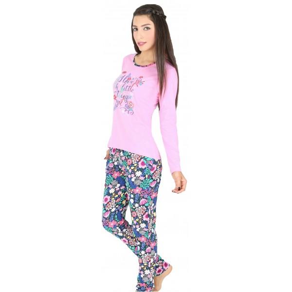 Pijama Largo Manga Larga Mujer Flores I Love