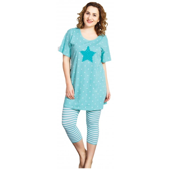 Pijama Talla Grande Pirata Manga Corta Mujer Leggins