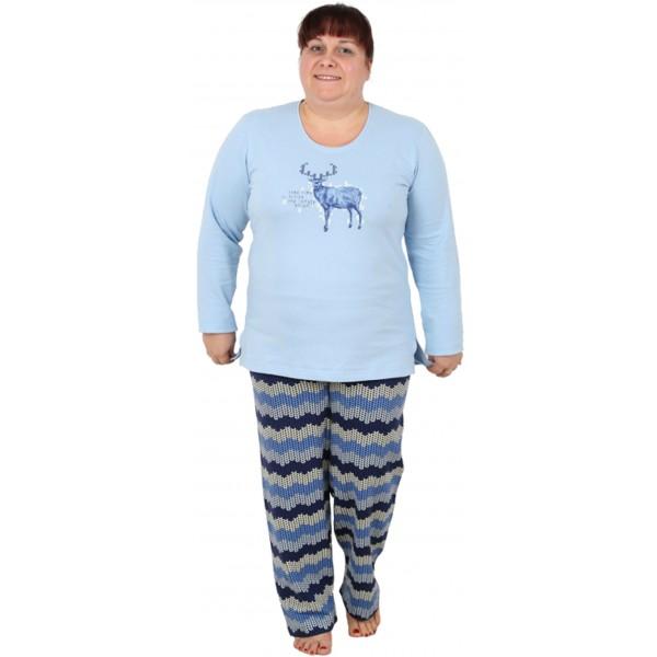Pijama Talla Grande Perchado/Felpa Largo Manga Larga Mujer Reno
