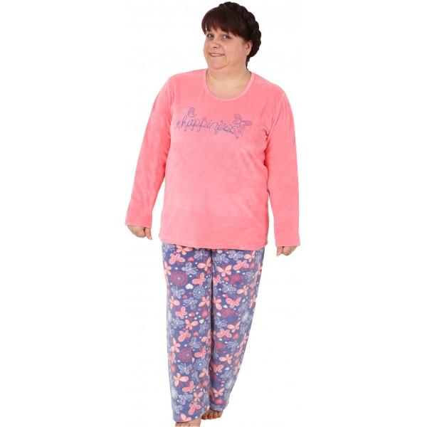Pijama Terciopelo Talla Grande Largo Manga Larga Mujer Tundosado Happies Mariposa
