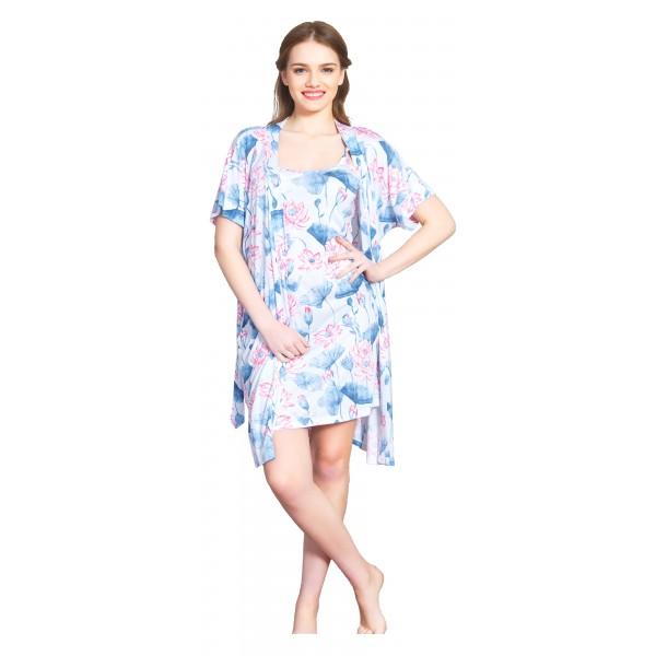 Conjunto Bata y Camison Mujer Flor Azul