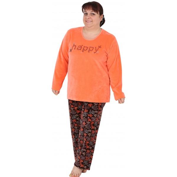 Pijama Terciopelo Talla Grande Largo Manga Larga Mujer Tundosado Happy