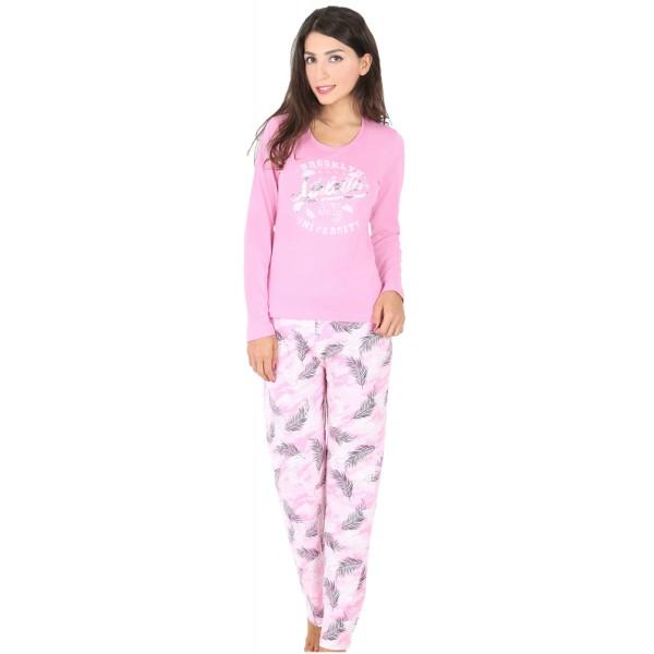 Pijama Largo Manga Larga Mujer Brooklyn Plumas