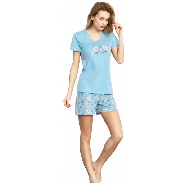 Pijama Corto Manga Corta Mujer Flores Life