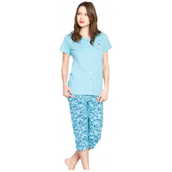 Pijama Pirarta Manga Corta Mujer Chaqueta Flores