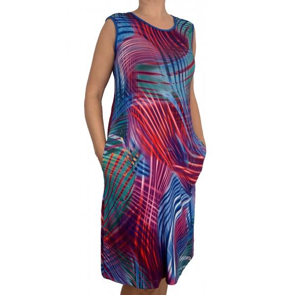 vestido Playa Tirante Ancho Mujer Rayas Fuxia
