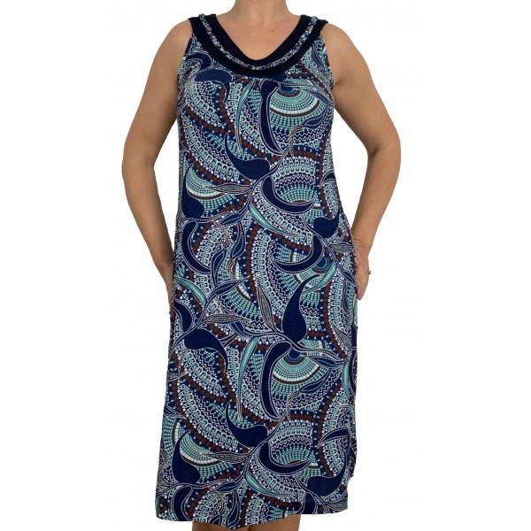 Vestido Playa Tirante Ancho Mujer Aguas Azules