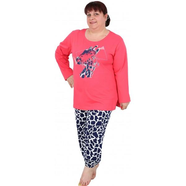 Pijama Talla Grande Largo Manga Larga Mujer Jirafa Abierto