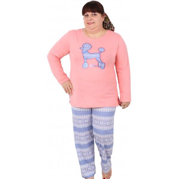 Pijama Talla Grande Largo Manga Larga Mujer Miss Caniche