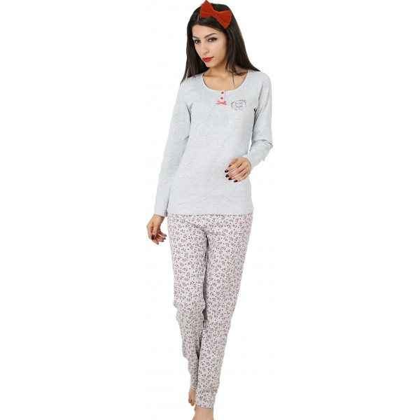 Pijama Largo Manga Larga Mujer Dos Botones