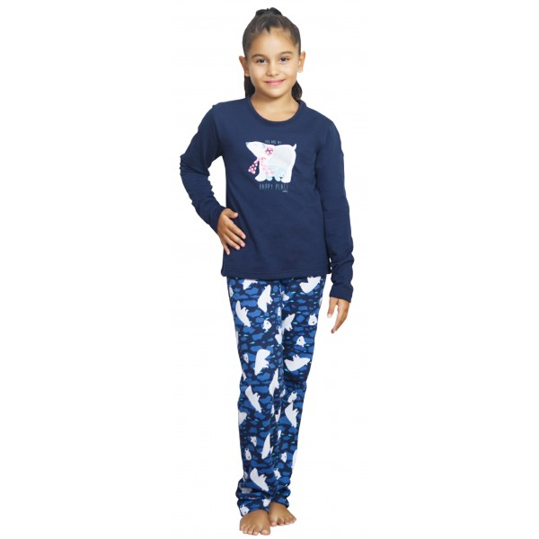 Pijama Perchado/Felpa Manga larga Niña Oso Polar