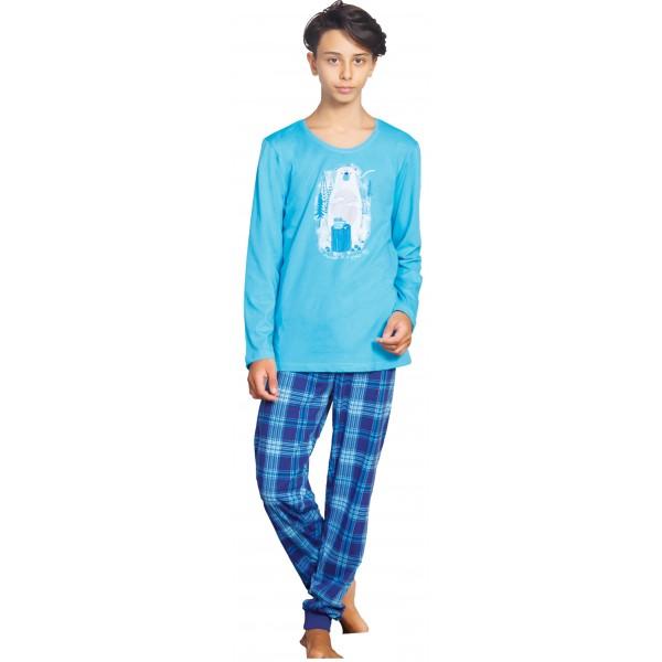 Pijama Manga Larga Niño Oso Polar Cuadros