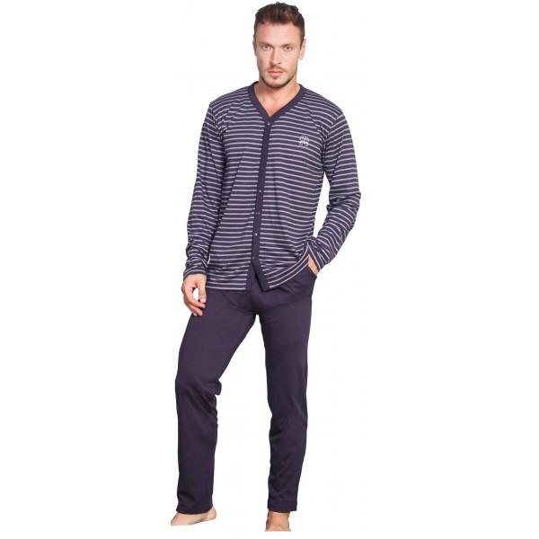 Pijama Hombre Largo Manga Larga Chaqueta Rayas