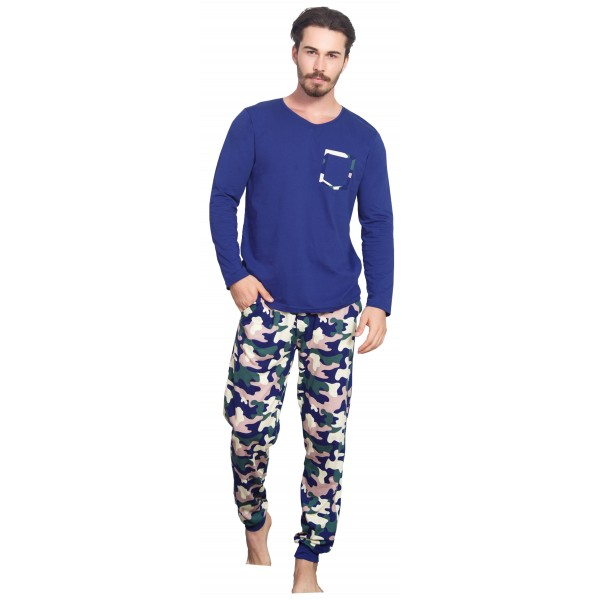 Pijama Hombre Largo Manga Larga Camuflaje