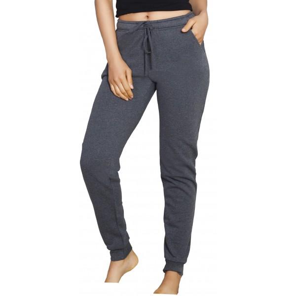 Pantalon Perchado/Felpa Mujer Gris Oscuro Bolsillos