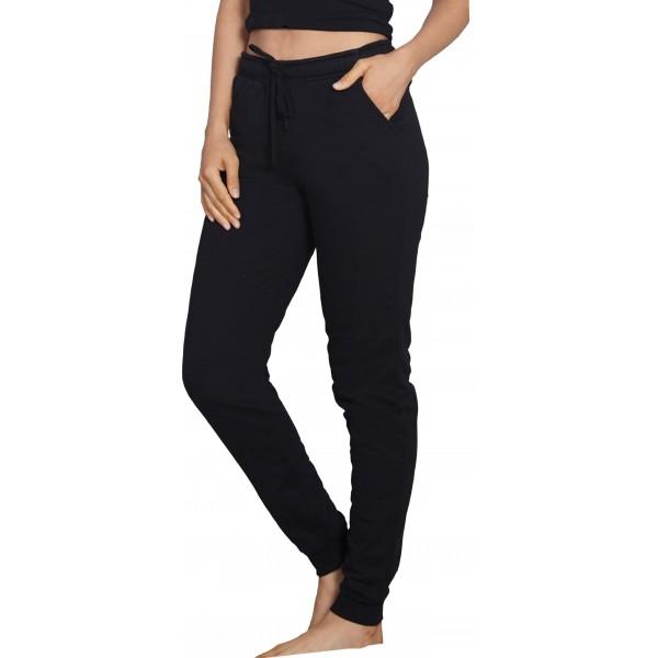 Pantalon Perchado/Felpa Mujer Negro Bolsillos