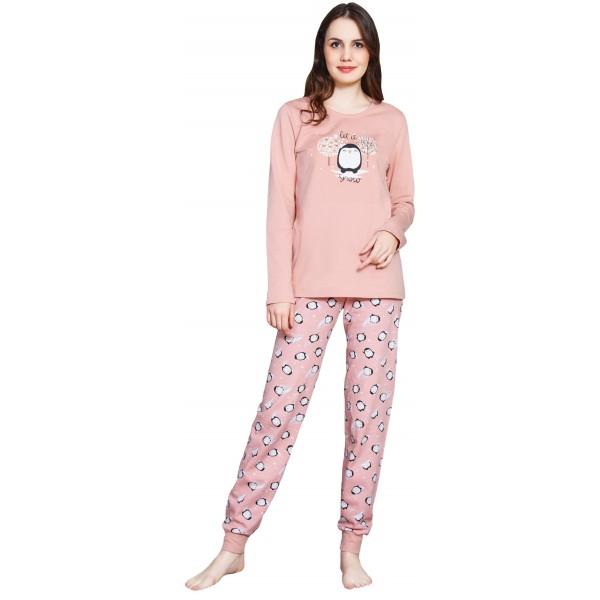 Pijama Largo Perchado/Felpa Manga Larga Mujer Puño Let It Snoio
