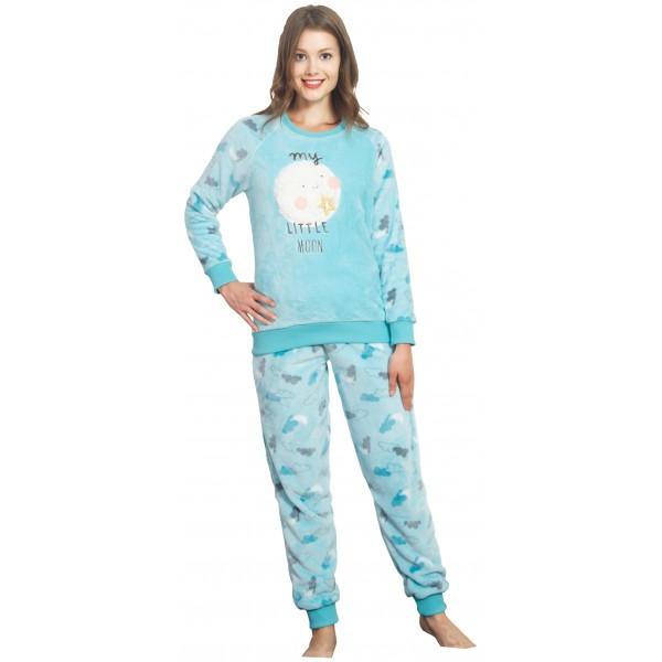 Pijama Largo Polar/Coralina Manga Larga Mujer My Little