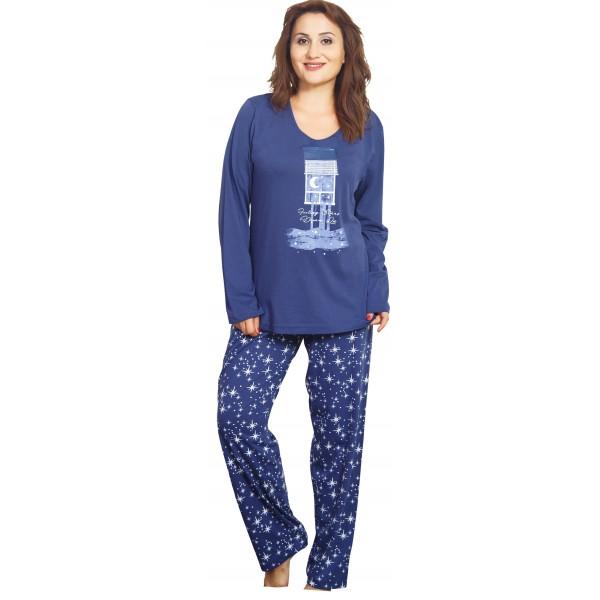 Pijama Talla Grande Largo Manga Larga Mujer Ventana Luna