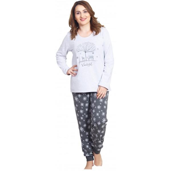 Pijama Talla Grande Perchado/Felpa Largo Manga Larga Mujer Puño Arbol