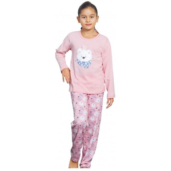 Pijama Manga Larga Niña Oso Con Bufanda
