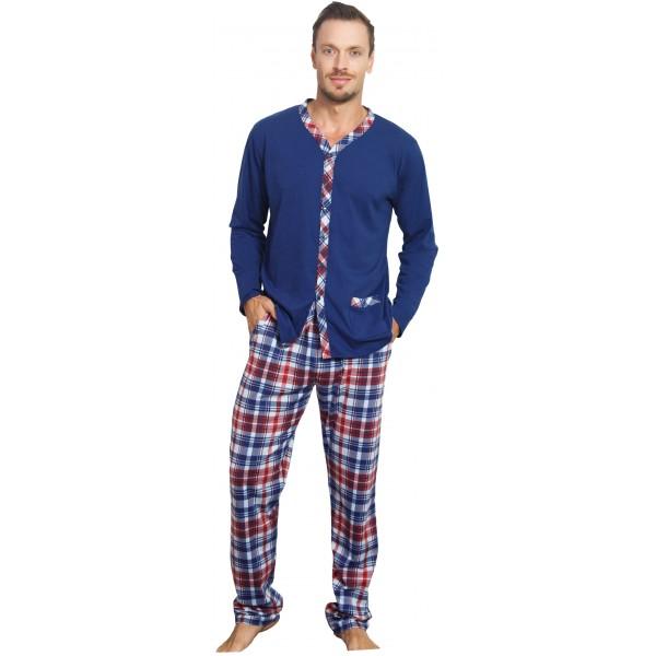 Pijama Hombre Largo Manga Larga Chaqueta Cuadros