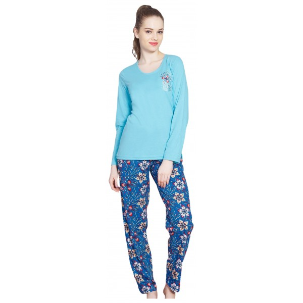 Pijama Largo Manga Larga Mujer Pantalon Flores