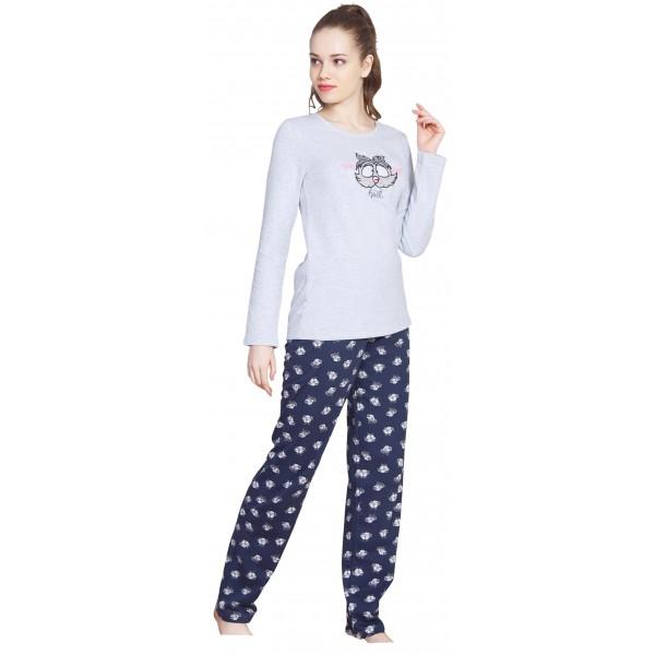 Pijama Largo Perchado/Felpa Manga Larga Mujer Buho