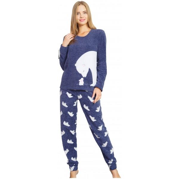 Pijama Polar Largo Manga Larga Mujer Puño Oso Polar