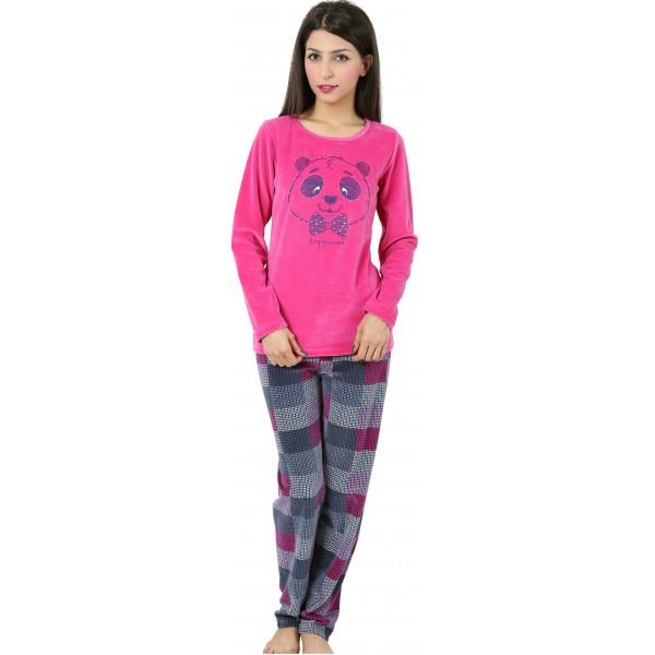Pijama Terciopelo Largo Manga Larga Mujer Oso Panda Tundosado