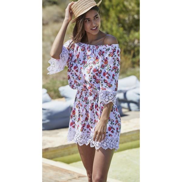 Vestido Playa Mujer Flores Encaje