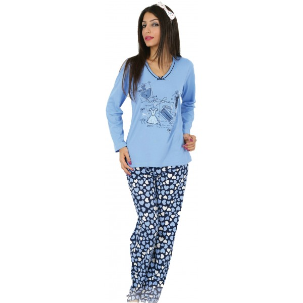 Pijama Largo Manga Larga Mujer With Love