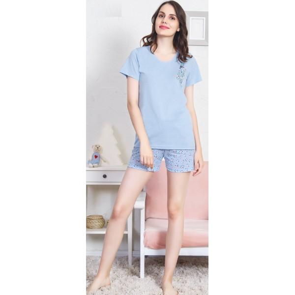 Pijama Corto Manga Corta Mujer Escudo Ramo Flores