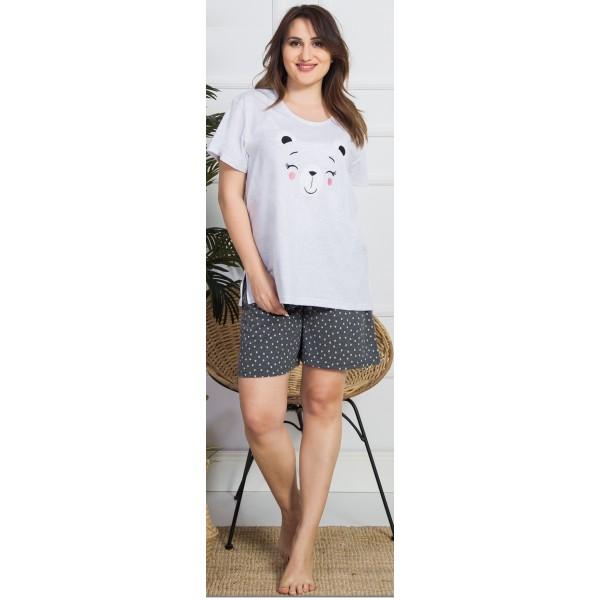 Pijama Talla Grande Corto Mujer Osito Lunares