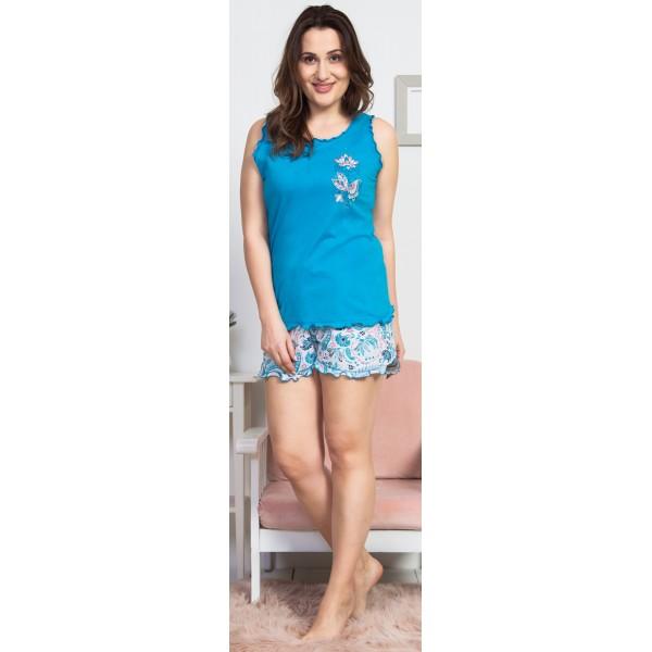 Pijama Talla Grande Corto Mujer Flores Espirales